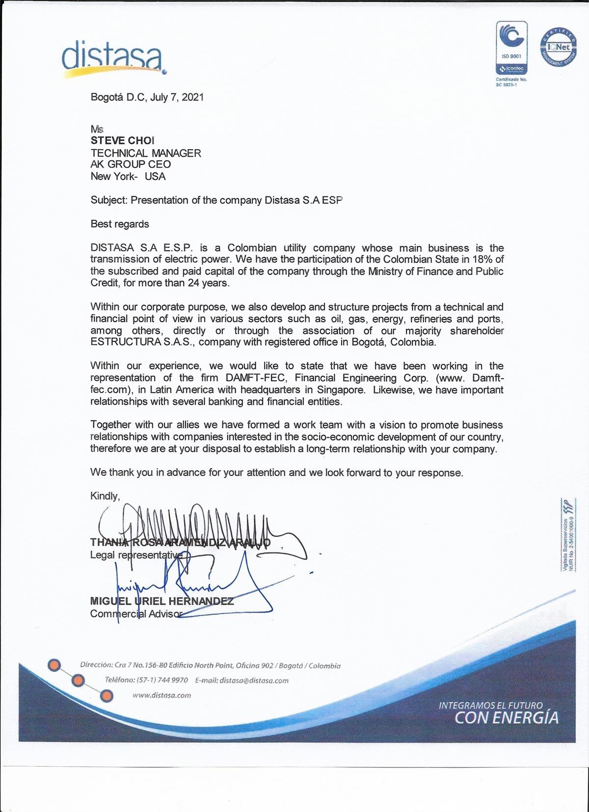 콜롬비아 전력회사 distasa로부터 온 편지